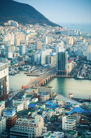 south korea: Downtown cityscape of Busan with evening sunlight, South Korea