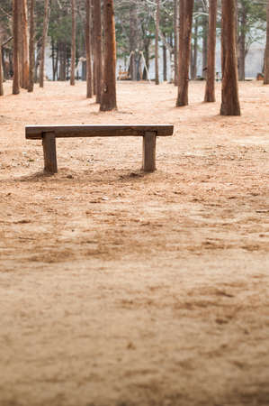 wood bench: Lonely wood bench at outdoor park.