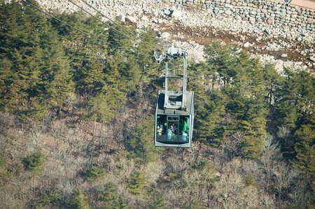 granite park: Cable car at Seoraksan National Park, South Korea Stock Photo