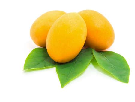 hojas de arbol: Fruta tropical. Marian ciruela o ciruela mango aislado en el fondo blanco Foto de archivo