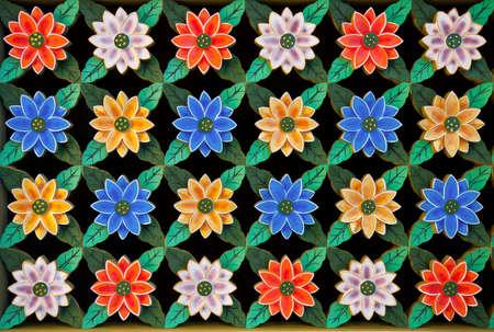 Carving lotusbloem op Korea traditie ramen. Stockfoto