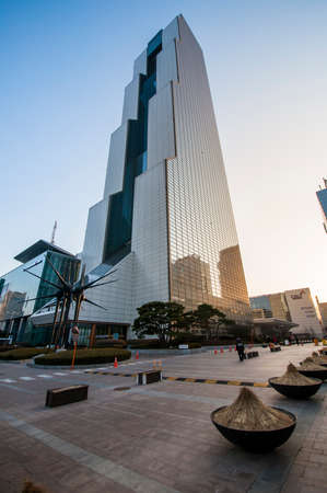 building trade: Seoul, South Korea - March 02, 2015 : South Korea World Trade Center. The 54-story building Trade Tower was built in 1988 with a height of 228 meters. Editorial