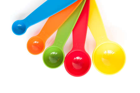 at close quarters: Measuring Spoons set on white background
