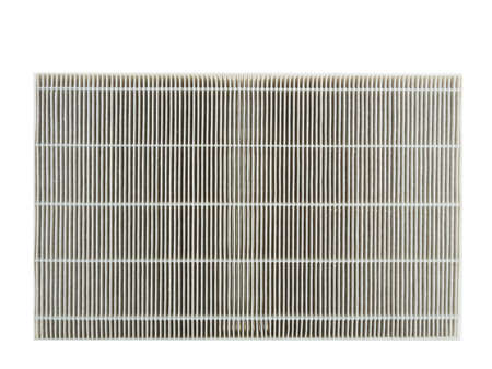 replacement: Air purifier filter replacement. Stock Photo
