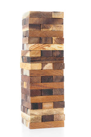 tower block: Wood blocks stack game on white background.