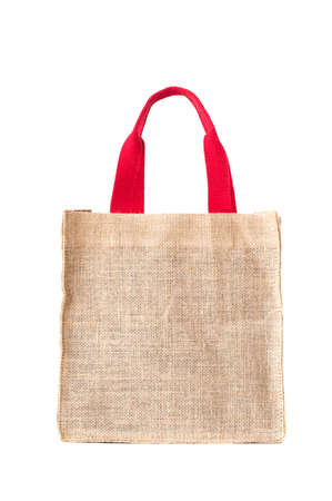hessian bag: Shopping hessian sack bag with red handle.