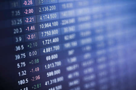 Stock market number on screen display Stock Photo - 40806962