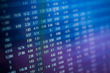 account data: Stock market number on screen display