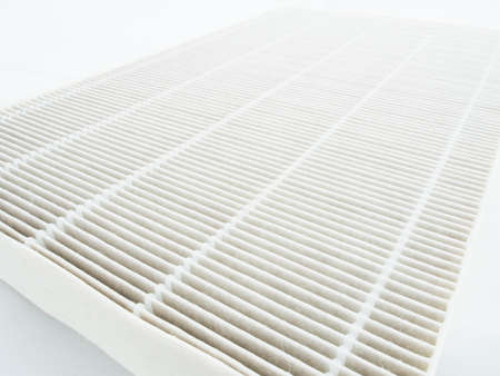 Air purifier filter replacement. Stock Photo