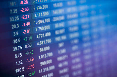 Stock market number on screen display photo