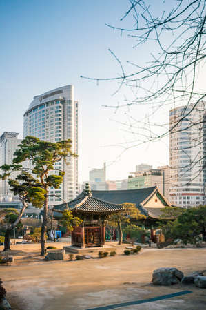contributed: Seoul, South Korea - March 03, 2015 : Tradition building in Bongeunsa temple. Korean Buddhism has also contributed much to East Asian Buddhism. Stock Photo