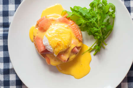 benedict: Egg Benedict with smoked salmon and Hollandaise sauce.