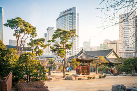 contributed: Seoul South Korea  March 03 2015 : Tradition building in Bongeunsa temple. Korean Buddhism has also contributed much to East Asian Buddhism. Editorial