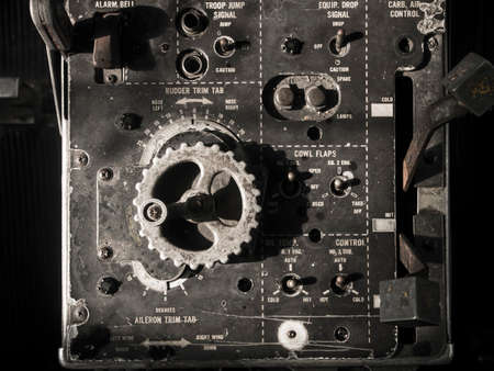 cockpit: Old Aircraft instruments panel grunge background Stock Photo