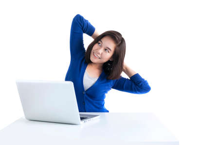 Business woman do stretch with laptop in front isolated over white background. Archivio Fotografico