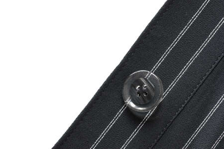 pin stripe: Closeup of suit button on pin stripped cloth
