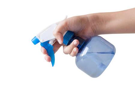 Plastic foggy sprayer bottle in hand isolated on white background.
