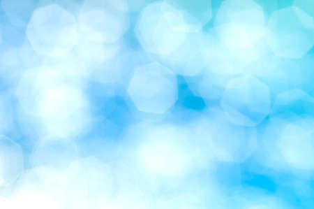 bubble background: Blue hexagonal bokeh abstract background. Stock Photo