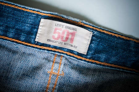 levi: Bangkok, Thailand - August 12, 2015: Close up of the old original 501 LEVIS tag. LEVIS is a brand name of Levi Strauss and Co, founded in 1853.