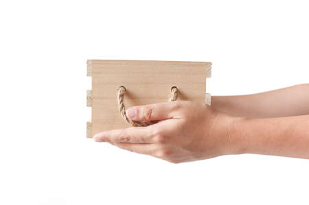 open box: Hand giving offer empty wood box isolated on white background