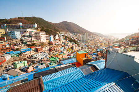 Busan, South Korea - February 26, 2015: Gamcheon Culture Village, In 2009 Ministry of Culture, Sports, and Tourism in South Korea launched a project to model the village into a creative community.