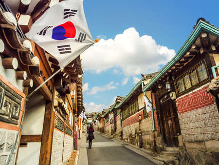 Traditional Korean style architecture at Bukchon Hanok Village in Seoul, South Korea. Reklamní fotografie - 44455993