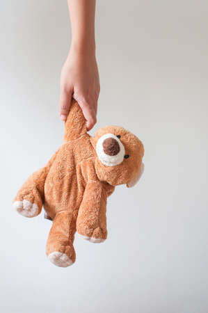 adult toys: Woman holding brown bear. Stock Photo