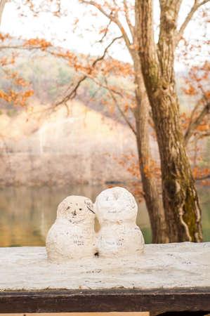 Chuncheon, South Korea - FEBRUARY 28, 2015: First Kiss figure from Korean drama Winter Sonata at Nami Island (Namiseom) Stock Photo
