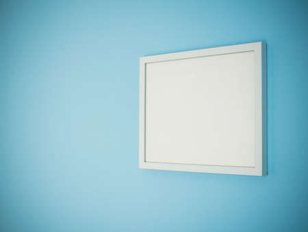perspective room: Blank white frame on light blue wall background perspective. Stock Photo