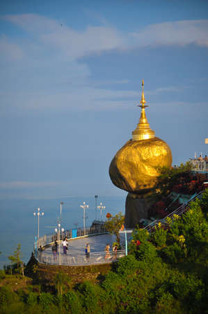 the perch: Kyaiktiyo Pagoda ,Golden rock in Myanmar. Stock Photo