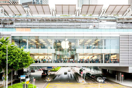 Hong Kong, China - October 05, 2015: Apple Store in Central District, Hong Kong. Many people queueing for the new iPhone6s in the Apple Store.