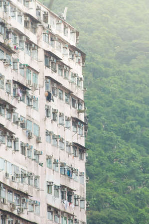 overcrowded: Dense residential building in Hong Kong Stock Photo