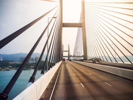 Tsing Ma brug in Hong Kong Stockfoto