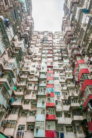 poverty: Dense residential building in Hong Kong Stock Photo