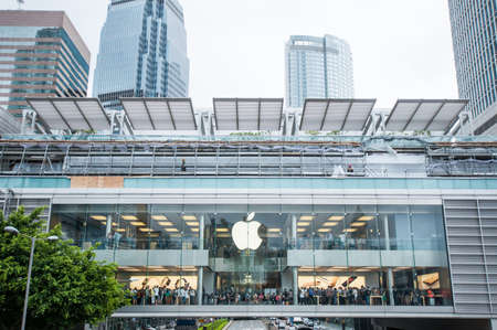 queueing: Hong Kong, China - October 05, 2015: Apple Store in Central District, Hong Kong. Many people queueing for the new iPhone6s in the Apple Store.