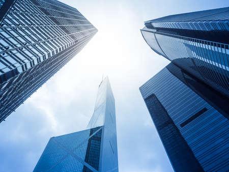 wealth: Modern office skyscarper buildings in central Hong Kong.