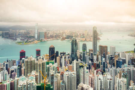 Hong Kong city with cloudy sky. Stock Photo