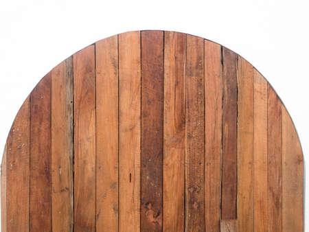 wood door: Dark brown arch wood plank background. Stock Photo