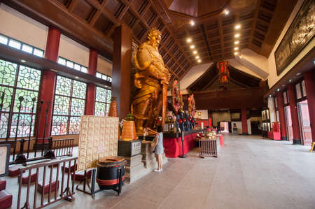 Hong Kong, China - October 04,2015 : Statue of General in Che Kung Temple. The Temple is a landmark temple and a popular tourist attraction in Hong Kong.