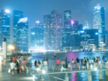 buliding: Blur background image of people enjoy on famous landmark business buliding Stock Photo
