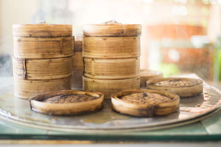 Dim sum steamers at a Chinese restaurant.