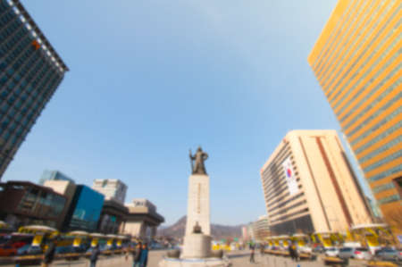 millitary: Blur background image of Gwanghwamun Square in Seoul, South Korea.