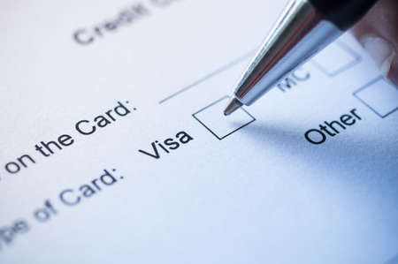 business credit application: Hand signing  credit card application