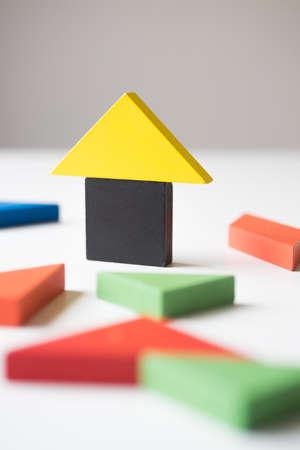 wood block: Wood block house.