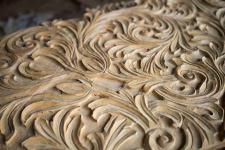 Floral wood carving.