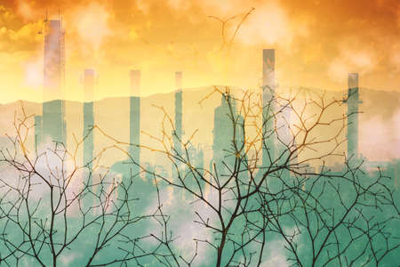 Industrial pollution nature disaster concept, double exposure. Banque d'images