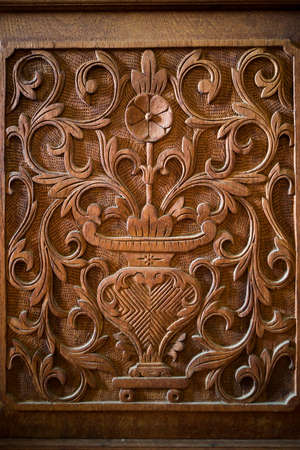 Flower wood carving detail background Stock Photo
