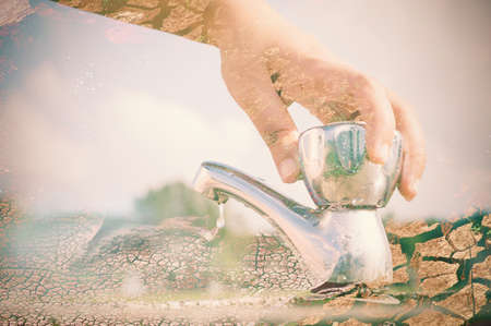 shut: Woman hand shut the faucet with arid land background, double exposure effect. Stock Photo