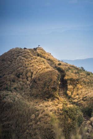 xing: The peak of highest mountain in Taipei, Taiwan. Qixing Mountain at Yangmingshan National Park