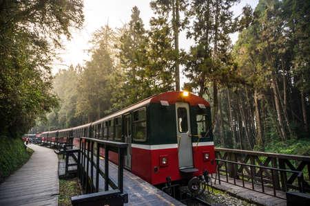 阿里山森林鉄道は、観光で有名です。 写真素材 - 55338386